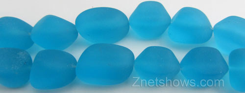 Cultured Sea Glass nugget Beads  <b>10-15mm</b> 30-Pacific Blue (7-pc-str)   per  <b>5-strand-hank</b>