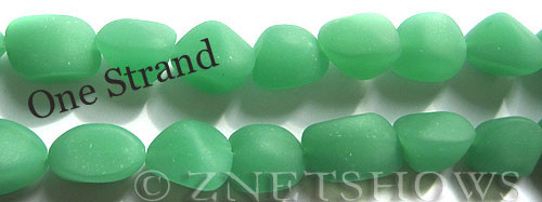 Cultured Sea Glass nugget Beads  <b>10-15mm</b> 44-Opaque Spring Green    per  <b>7-pc-str</b>