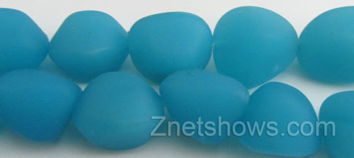 Cultured Sea Glass nugget Beads  <b>10-15mm</b> 46-Opaque Blue Opal (7-pc-str)   per  <b>5-strand-hank</b>