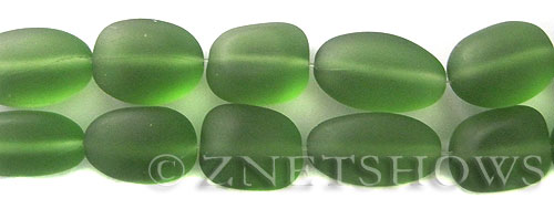 Cultured Sea Glass nugget Beads  <b>18-22mm</b> 25-Shamrock (6-pc-str)(4-in-str)   per  <b>5-str-hank</b>