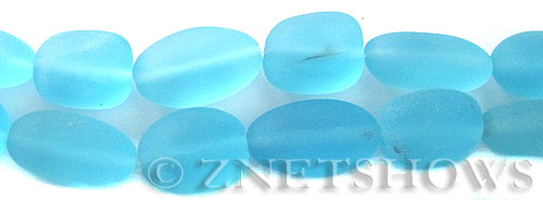 Cultured Sea Glass nugget Beads  <b>18-22mm</b> 28-Turquoise Bay (11-pc-str)   per  <b>8-in-str</b>