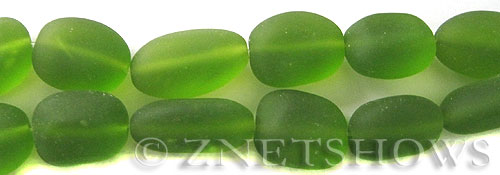 Cultured Sea Glass nugget Beads  <b>18-22mm</b> 80-Lime Green (6-pc-str)(4-in-str)   per  <b>5-str-hank</b>