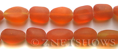 Cultured Sea Glass nugget Beads  <b>18-22mm</b> 83-Tangerine (6-pc-str)(4-in-str)   per  <b>5-str-hank</b>