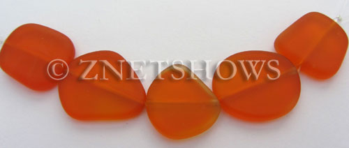 Cultured Sea Glass freeform flat Beads  <b>21-25mm</b> 83-Tangerine (5-pc-str)   per  <b>5-str-hank</b>