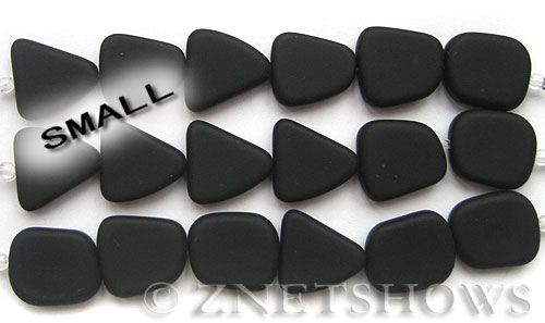 Cultured Sea Glass freeform flat Beads  <b>13-16mm</b> 02-Jet Black (4-in-str)(6-pc-str)   per  <b>5-str-hank</b>