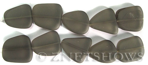 Cultured Sea Glass freeform flat Beads  <b>18-22mm</b> 15-Smoky Quartz  (4-in-str)(5-pc-str)   per  <b>5-str-hank</b>