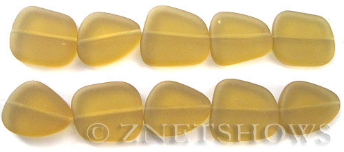 Cultured Sea Glass freeform flat Beads  <b>18-22mm</b> 16-Desert Gold (4-inch-strand)   per  <b>5-str-hank</b>