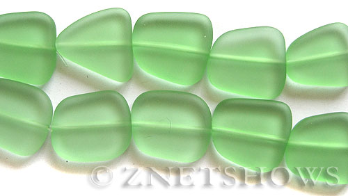 Cultured Sea Glass freeform flat Beads  <b>18-22mm</b> 23-Peridot (4-inch-strand)   per  <b>5-str-hank</b>