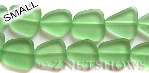 Cultured Sea Glass freeform flat Beads  <b>13-16mm</b> 23-Peridot    per  <b>14-pc-str</b>
