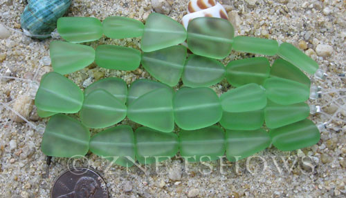 Cultured Sea Glass freeform flat Beads  <b>13-16mm</b> 23-Peridot (4-in-str)(6-pc-str)   per  <b>5-str-hank</b>