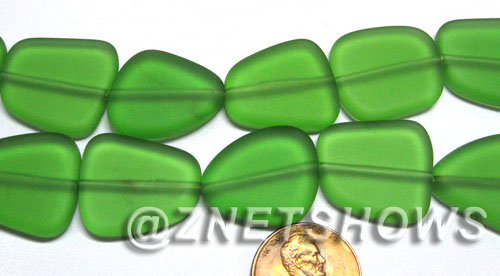 Cultured Sea Glass freeform flat Beads  <b>18-22mm</b> 25-Shamrock (9-pc-str)   per  <b>8-in-str</b>
