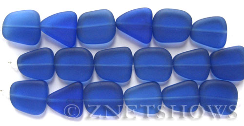 Cultured Sea Glass freeform flat Beads  <b>13-16mm</b> 33-Royal Blue (4-in-str)(6-pc-str)   per  <b>5-str-hank</b>