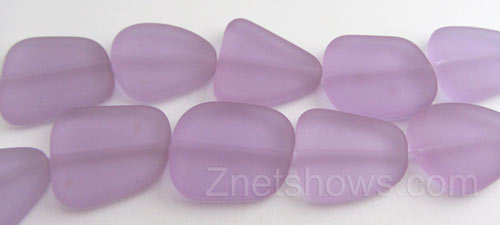 Cultured Sea Glass freeform flat Beads  <b>18-22mm</b> 39-Periwinkle Changes (4-inch-strand)   per  <b>5-strand-hank</b>