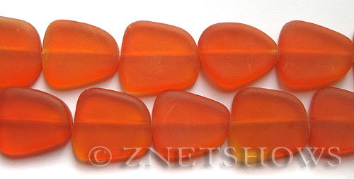 Cultured Sea Glass freeform flat Beads  <b>18-22mm</b> 83-Tangerine (4-in-str)(5-pc-str)   per  <b>5-str-hank</b>
