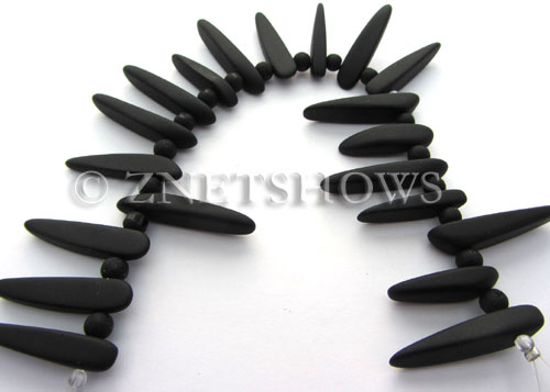 Cultured Sea Glass tusk Beads  <b>varied</b> 02-Jet Black (20-pc-str)   per  <b>4-str-hank</b>