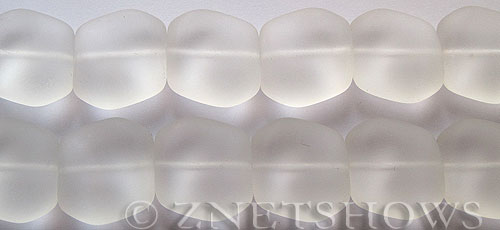 Cultured Sea Glass square nugget Beads  <b>18x17mm</b> 01-Crystal (6-pc-strad)   per  <b>5-strand-hank</b> (6-pc-str)