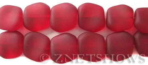 Cultured Sea Glass square nugget Beads  <b>18x17mm</b> 05-Cherry Red (6-pc-strad)   per  <b>5-strand-hank</b>(6-pc-str)