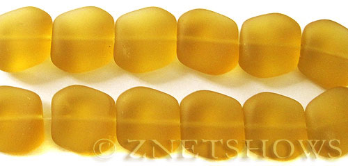 Cultured Sea Glass square nugget Beads  <b>18x17mm</b> 16-Desert Gold (6-pc-str)   per  <b>5-str-hank</b>