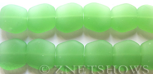 Cultured Sea Glass square nugget Beads  <b>18x17mm</b> 25-Shamrock (12-pc-strad)   per  <b>8-in-str</b>