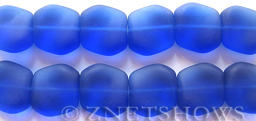 Cultured Sea Glass square nugget Beads  <b>18x17mm</b> 33-Royal Blue (6-pc-strad)   per  <b>5-strand-hank</b> (6-pc-str)