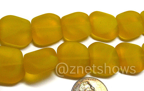 Cultured Sea Glass square nugget Beads  <b>18x17mm</b> 57-Saffron Yellow (12-pc-strad)   per  <b>8-in-str</b>