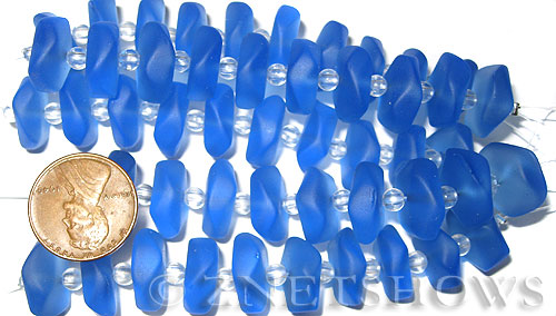 Cultured Sea Glass button freeform Beads  <b>14-15mm</b> 31-Light Sapphire 5-strand-hank (10-pc-str)   per  <b>5-str-hank</b>