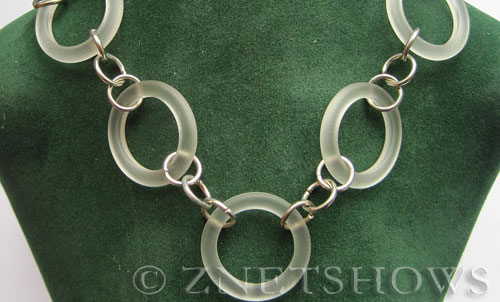 Cultured Sea Glass ring Beads  <b>27mm</b> 01-Crystal Bottle-neck style rings chain linked   per  <b>5-pc-str</b>