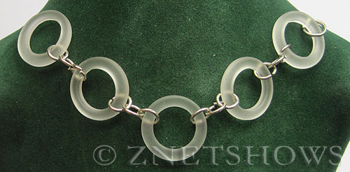 Cultured Sea Glass ring Beads  <b>23mm</b> 01-Crystal chain   per  <b>5-pc-str</b>and