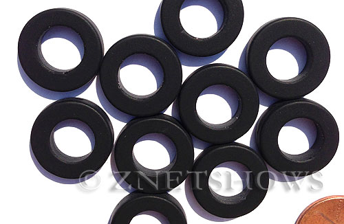 Cultured Sea Glass ring Beads  <b>16mm</b> 02-Jet Black Bottle-neck style rings    per  <b>10-pc-bag</b>