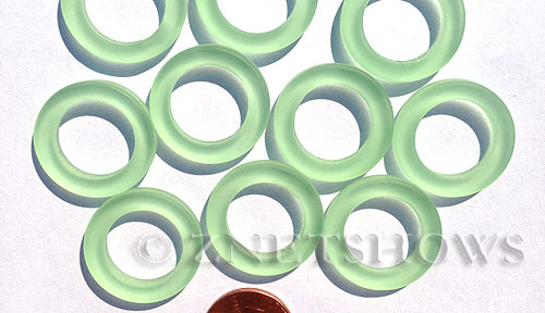 Cultured Sea Glass ring Beads  <b>23mm</b> 23-Peridot Bottle-neck style rings    per  <b>10-pc-bag</b>