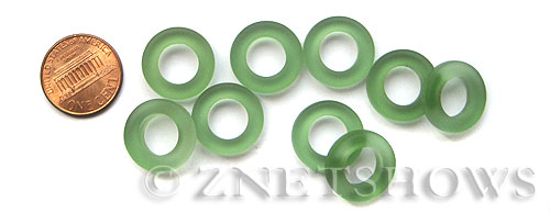 Cultured Sea Glass ring Beads  <b>16mm</b> 25-Shamrock Bottle-neck style rings    per  <b>10-pc-bag</b>