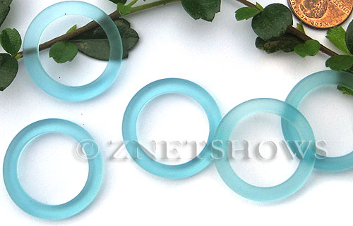 Cultured Sea Glass ring Beads  <b>27mm</b> 28-Turquoise Bay Bottle-neck style rings    per  <b>10-pc-bag</b>