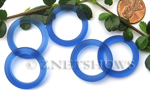 Cultured Sea Glass ring Beads  <b>27mm</b> 33-Royal Blue Bottle-neck style rings    per  <b>10-pc-bag</b>
