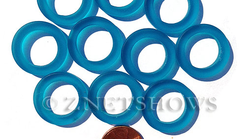 Cultured Sea Glass ring Beads  <b>23mm</b> 82-Teal Bottle-neck style rings    per  <b>10-pc-bag</b>