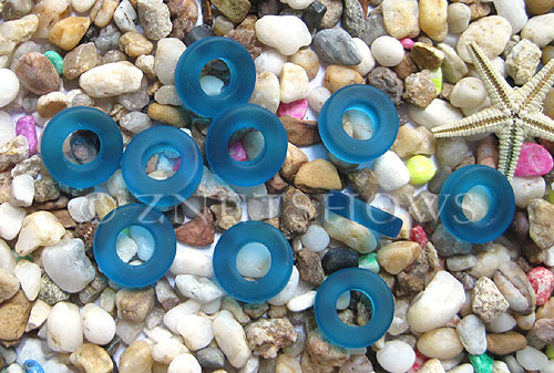 Cultured Sea Glass ring Beads  <b>12mm</b> 82-Teal Bottle-neck style rings    per  <b>10-pc-bag</b>