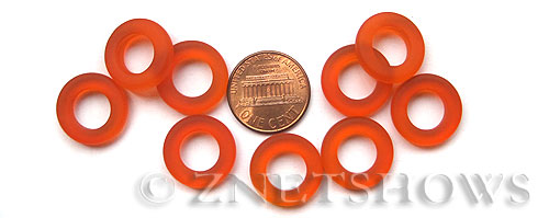 Cultured Sea Glass ring Beads  <b>16mm</b> 83-Tangerine Bottle-neck style rings    per  <b>10-pc-bag</b>