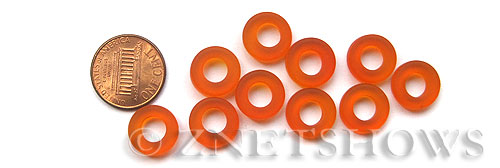 Cultured Sea Glass ring Beads  <b>12mm</b> 83-Tangerine Bottle-neck style rings    per  <b>10-pc-bag</b>