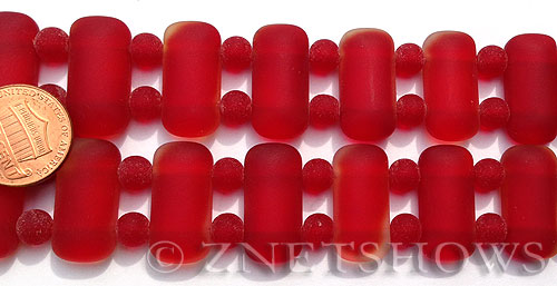 Cultured Sea Glass double hole Beads  <b>24x12mm</b> 05-Cherry Red rectangle with spacers   per  <b>10-pc-str</b>