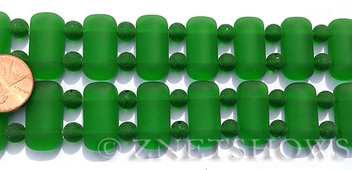 Cultured Sea Glass double hole Beads  <b>24x12mm</b> 25-Shamrock rectangle with spacers   per  <b>10-pc-str</b>