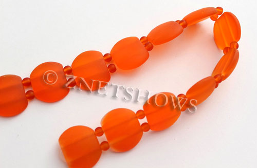 Cultured Sea Glass double hole Beads 21x17mm  83-Tangerine    per  <b>12-pc-str </b>