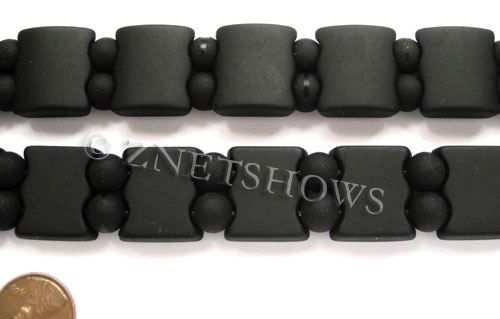 Cultured Sea Glass double hole Beads 20x20mm 02-Jet Black    per  <b>10-pc-str</b>