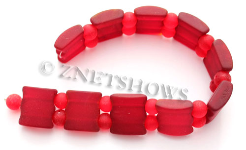 Cultured Sea Glass double hole Beads 20x20mm 05-Cherry Red    per  <b>10-pc-str</b>