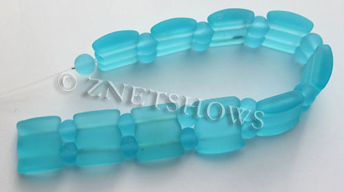 Cultured Sea Glass double hole Beads 20x20mm 30-Pacific Blue    per  <b>10-pc-str</b>