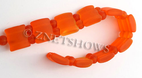 Cultured Sea Glass double hole Beads 20x20mm 83-Tangerine    per  <b>10-pc-str</b>