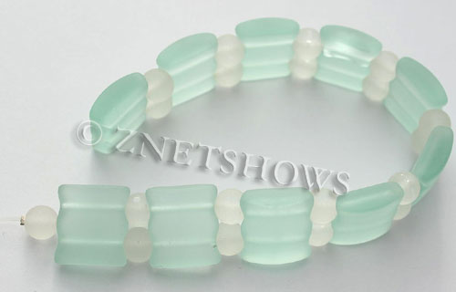 Cultured Sea Glass double hole Beads 20x20mm 88-Light Aqua `Coke` bottle Seafoam    per  <b>10-pc-str</b>