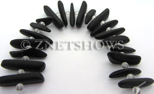 Cultured Sea Glass fish bone Beads  <b>20-25mm</b> 02-Jet Black stick(20-pc-str)   per  <b>4-str-hank</b>