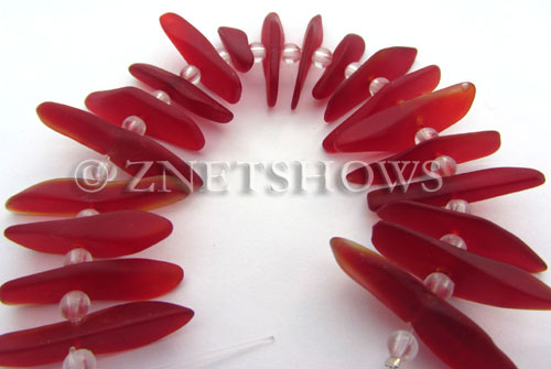Cultured Sea Glass fish bone Beads  <b>20-25mm</b> 05-Cherry Red stick(20-pc-str)   per  <b>4-str-hank</b>