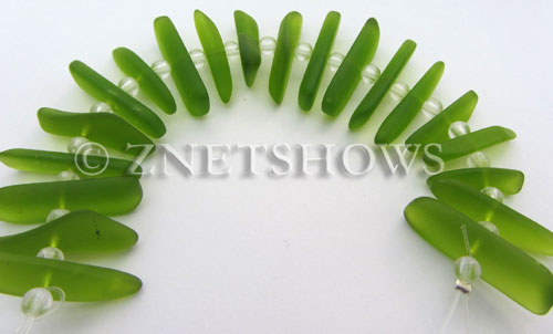 Cultured Sea Glass fish bone Beads  <b>20-25mm</b> 22-Olive stick(20-pc-str)   per  <b>4-str-hank</b>