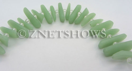 Cultured Sea Glass fish bone Beads  <b>20-25mm</b> 43-Opaque Seafoam Green stick(20-pc-str)   per  <b>4-str-hank</b>