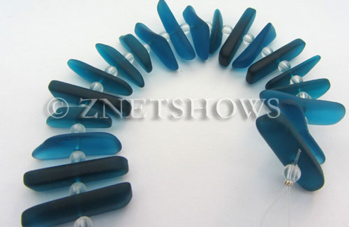 Cultured Sea Glass fish bone Beads  <b>20-25mm</b> 82-Teal stick(20-pc-str)   per  <b>4-str-hank</b>